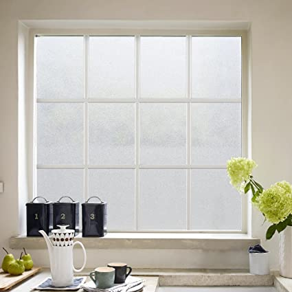 RABBITGOO Privacy Window Film White Window Frosting Film No Glue Static  Cling Window Sticker Opaque Window