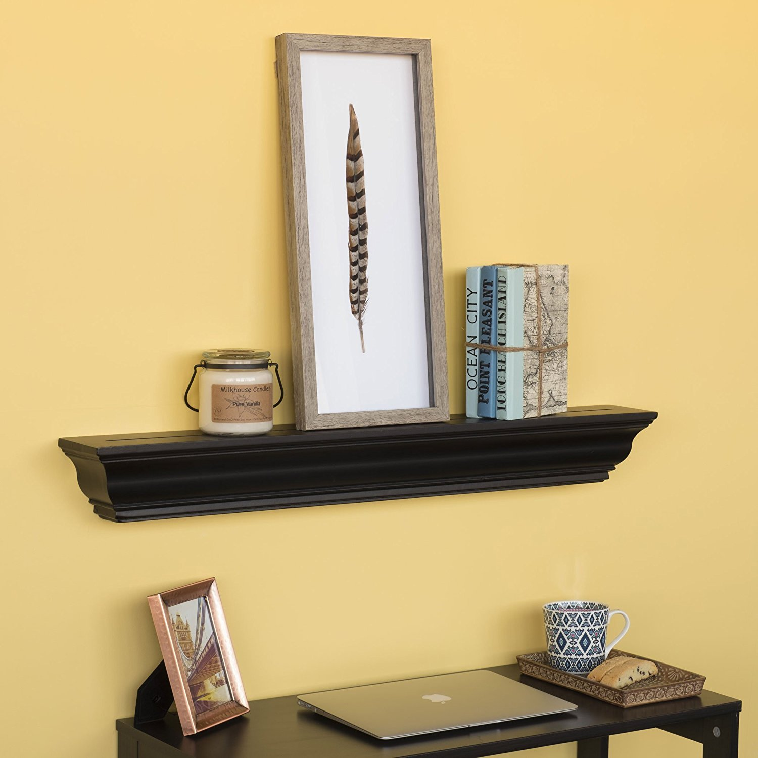 Amazon.com: Crown Molding Floating Wall Shelf Decorative Picture Art ...