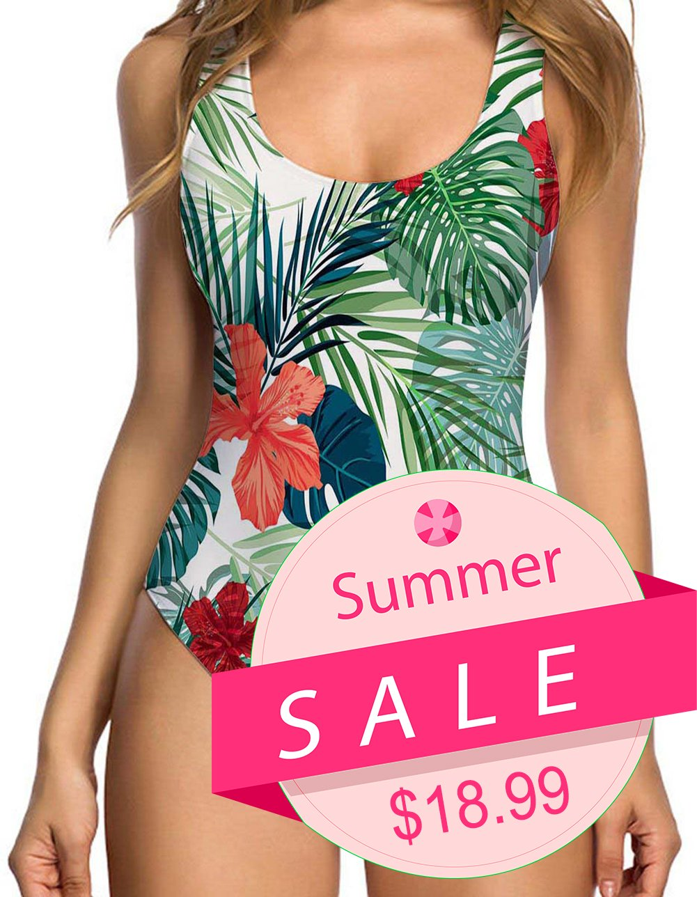 RAISEVERN Women's Tropical Floral Hawaii Pattern One Piece Swimsuit 3D Personalized Print Travel Pro Swimsuits Bathing Suit Swimwear