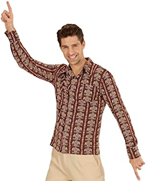 Amakando Camisa de Manga Larga en poliéster Saturday Night Fever / Marrón S/M (ES 48/50) / Camisa Disco Hombre Fiestas de los años 70 Outfit / Incomparable para Festival y Carnaval: Amazon.es: