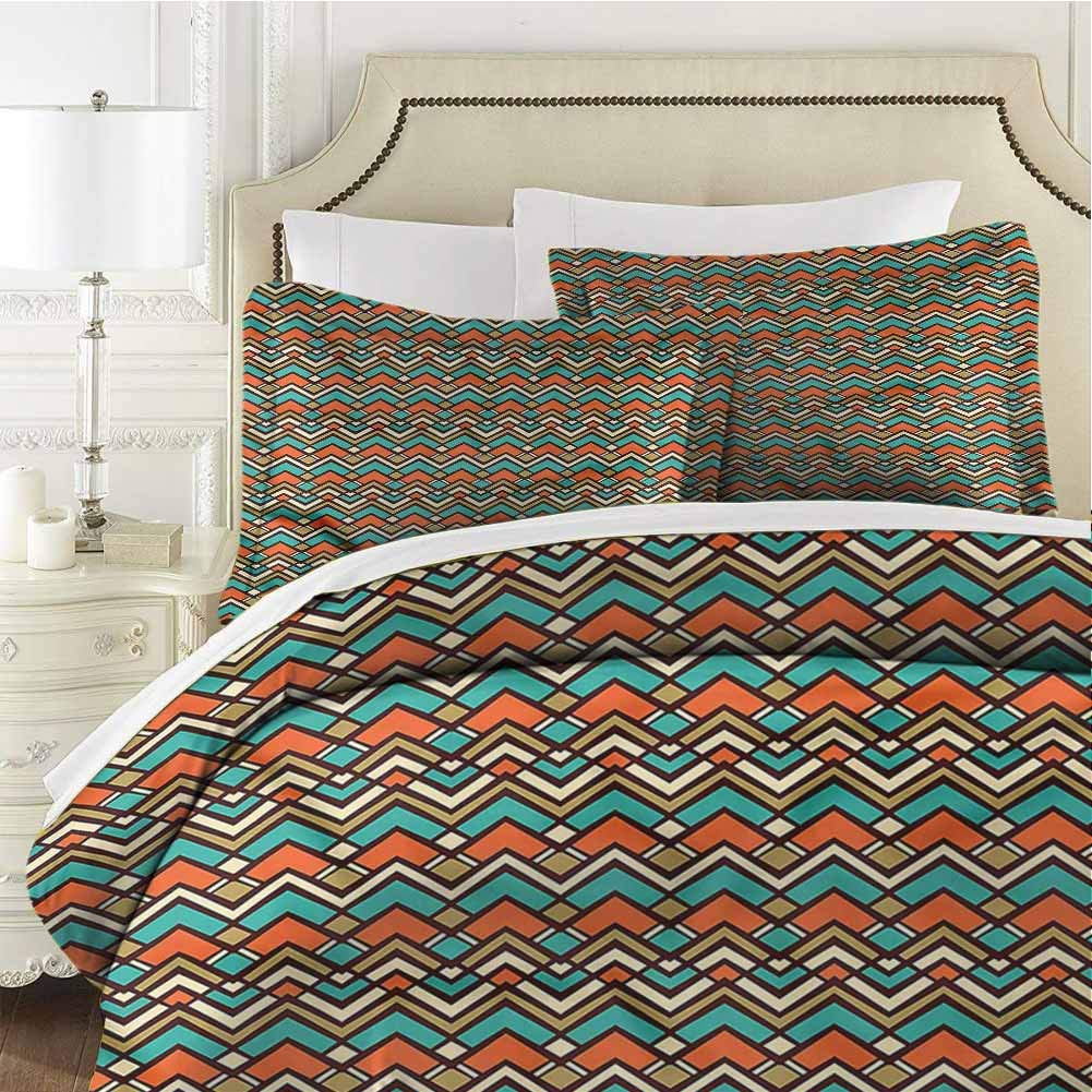 Colorful Twin Size Sheet Set-3 Piece Set,Bedding Set Bedding Set Ornamental Chevron Stripes Soft and Breathable Comforter Cover Soft Breathable