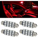Partsam 4pcs Red 41mm 42mm Festoon 12SMD LED Light Interior Dome Map Trunk Cargo Footwell Replacement Bulb Lamp 12V 561 562 578 211-2