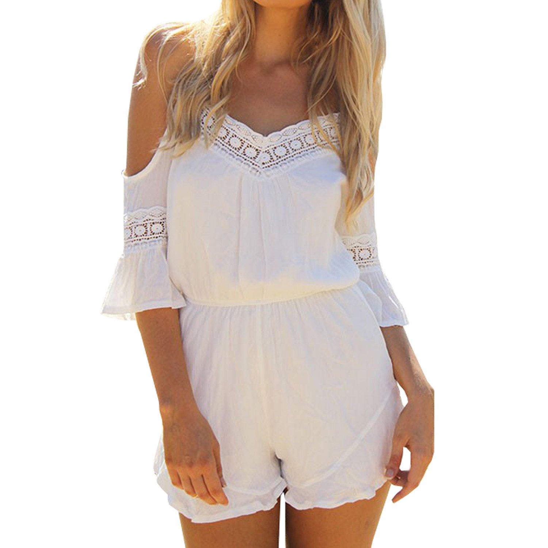 SUNNOW® Elegant Damen Jumpsuits Overall Neckholder V-Ausschnitt Chiffon Rock hohe Taillen Spitze Hosenträger Sexy Shorts Sommer