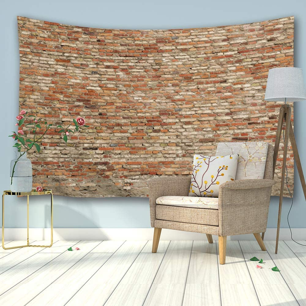 Amazon Com Procida Brick Wall Tapestry Marble Wall Vintage Texture Stone Large Wall Hanging Home Decor For Dorm Room Bedroom Living Room College Nail Included 90 W X 60 L Loam Brick Wall