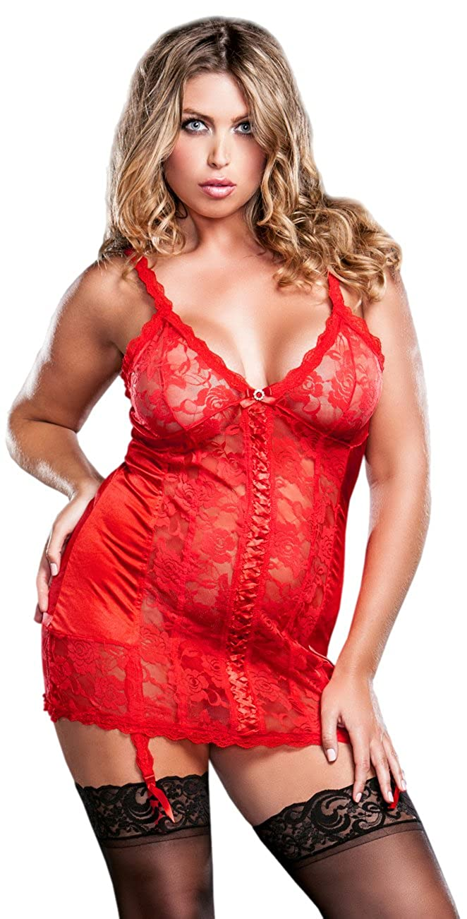 iCollection Women's Plus-Size Satin and Floral Lace Open Back Chemise iCollection Exotic IA 7670X