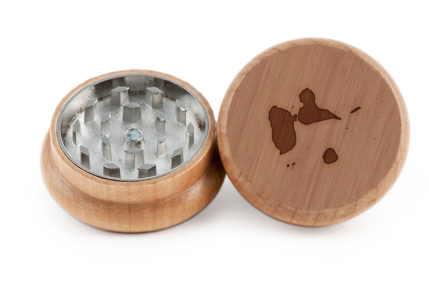 Guadeloupe Herb and Spice Grinder - 2 Piece Wood Grinder with Laser Etched Designs - Made with Oak (2 Inches) GrindCandy