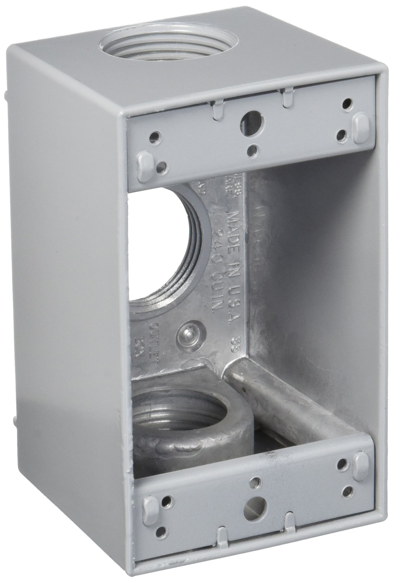 Made in USA Weatherproof Electrical Outlet Box (3) 1'' Holes - Gray