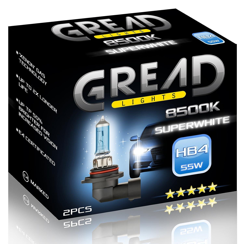 2x HB4 Halogen Lampen in Xenon Optik von Gread Lights   Super White   8500k 55W   E-Prü fzeichen   100% Passgenauigkeit & lange Lebensdauer