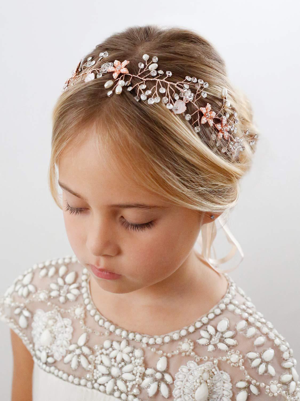 Babys Breath Hair Piece Gold Headpiece for Birthday Party SWEETV Flower Girl Headband for Wedding Photography