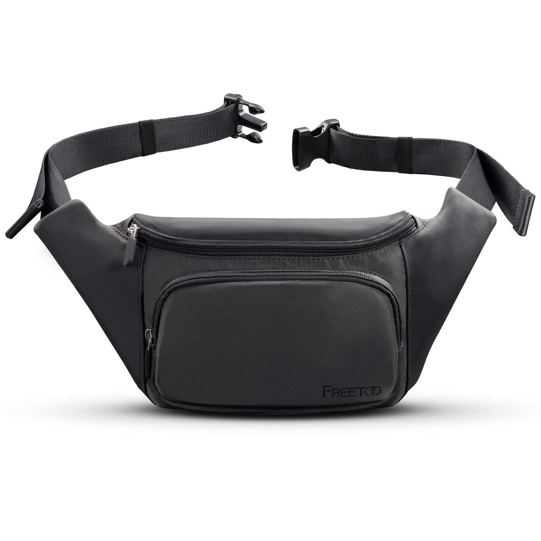 FREETOO Bolsa de Cintura Grande Impermeable Rinonera con Multi-Pocket Ideal para IR de Excursión Viajes Festivales