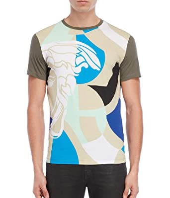 5838c457 Versace Collection Mosaic Abstract Medusa Crew Tee, Olive ($250) (Large)