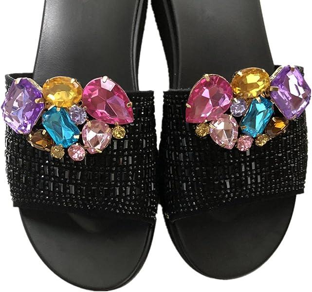 6b8f3529308 Amazon.com  Douqu Women Girls Rhinestone Crystal Wedding Bridal Gold Tone  Shoe Clips Pair (Colorful)  Shoes