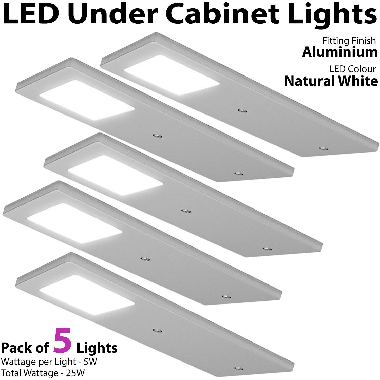 5x 5w led slimline low profile kitchen cabinet panel spot light driver kit aluminium finish natural white lighting beam worktop
