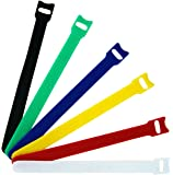 Pack of 60, Microfiber Cloth 6-Inch Cable Straps Hook and Loop Reusable Fastening Cable Ties, Multicolor