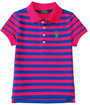 Ralph Lauren Girls Striped Stretch Mesh Polo (M -8-10, SPORT PINK