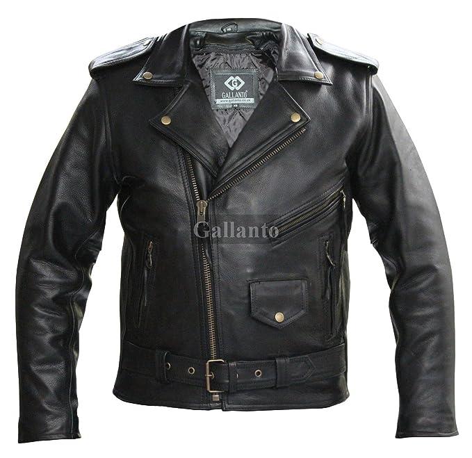 brand new 2bbf5 582b1 Marlon Antico Motociclista Pelle Giacca - Uomo Pelle Giacche Classiche per  Uomo