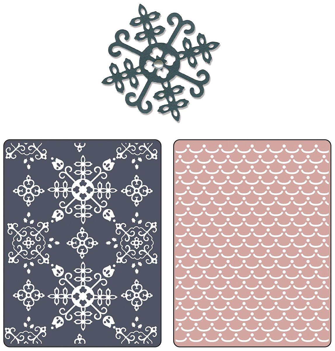 Sizzix Textured Impressions Prägefolder für Scrapbooking Nordic Holiday Alpine Pattern, Flowers Ellison 658191