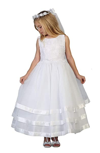 Amazon.com: Vestido de primera comunión blanco para niña con ...