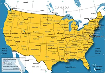 Amazon.com: Home Comforts Laminated Map - United States Map Nations ...