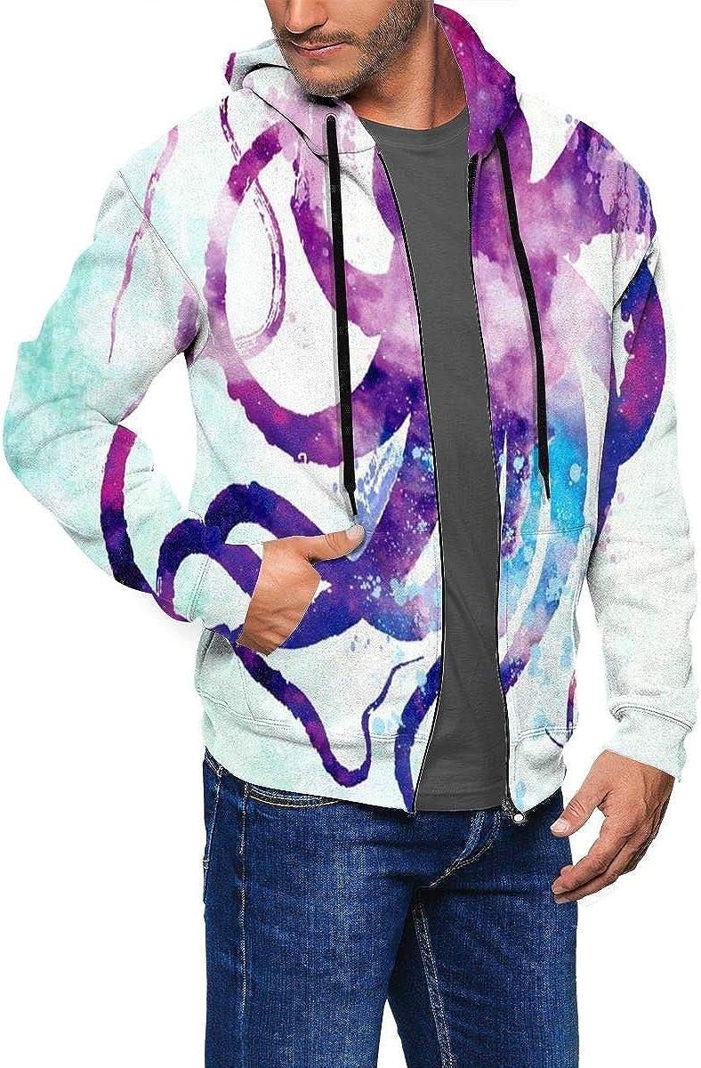 Purple Octopus Mens Hoodie Midweight Sweatshirt Warm Athletic Pullover Hoodie