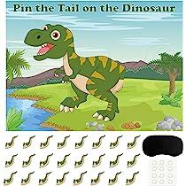 FEPITO Pin The Tail en el Juego de Dinosaurios con 24 Piezas de Colas para Cumpleaños del Dinosaurio Suministros para la Fiesta, Dinosaurio de los ...