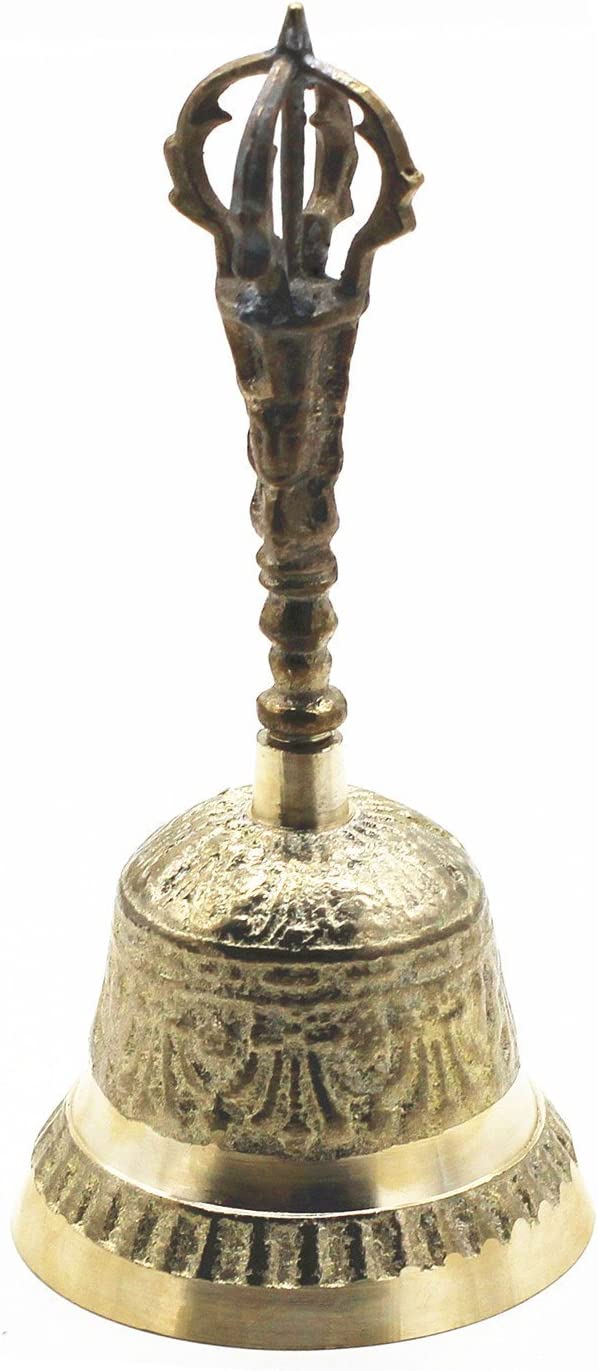 """Bell 4/"""" Hand Held Service Chime Brass Hotel Shop Reception Dinner Free Ship"""
