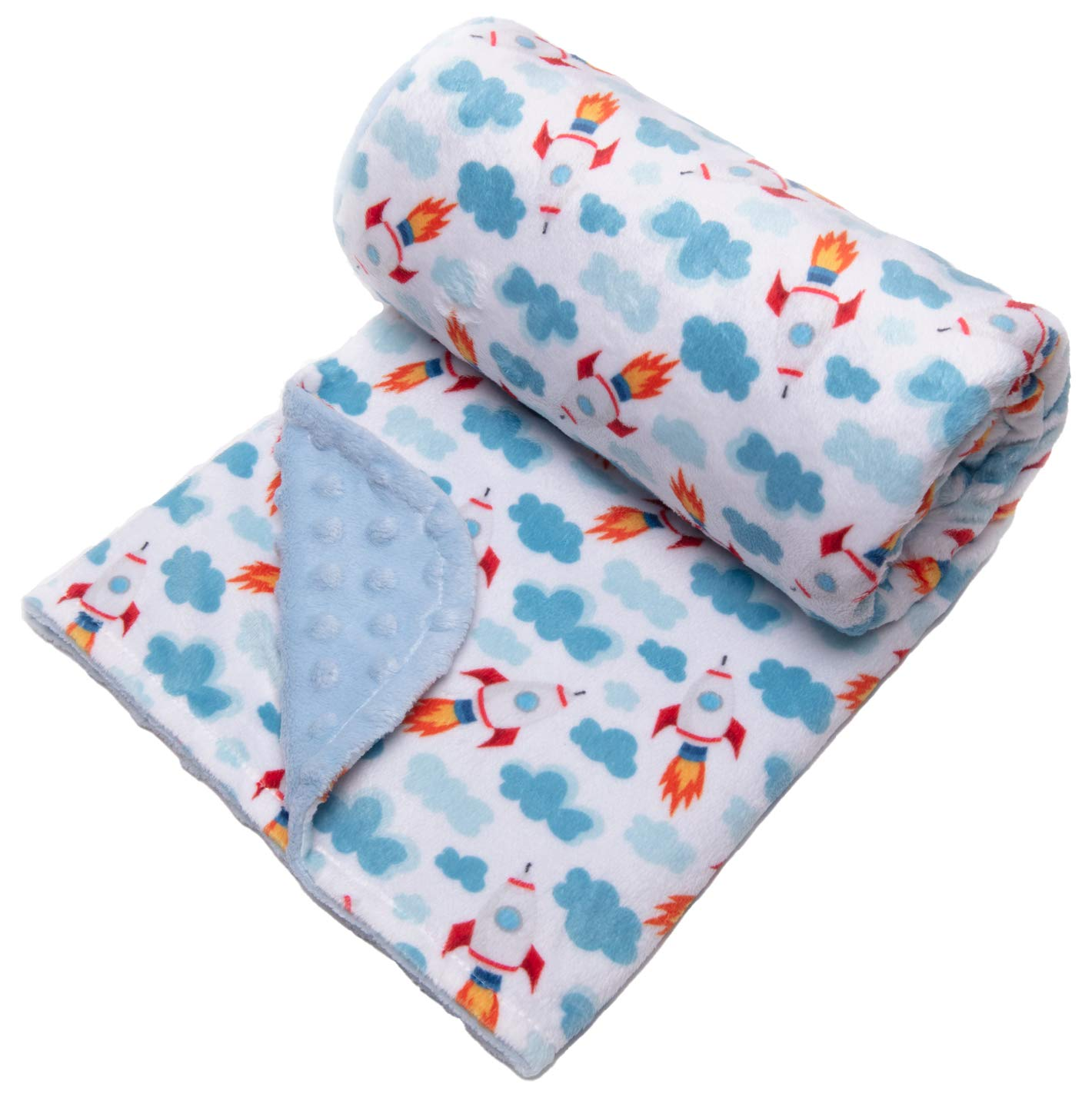small size possibility to embroider the first name Soft minky blanket for baby and child with blue cloud pattern regular or large