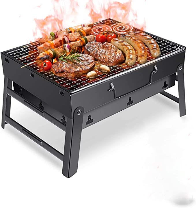Amazon.com: ORDA Small BBQ Charcoal Grill Stainless Steel Folding Lightweight Portable Barbecue Grill for Camping Picnic Beach Wild Backpacking Party: Home Improvement