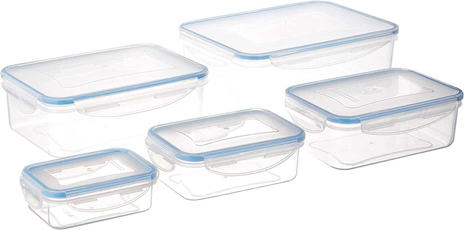 Inspired Living by Mesa Inspired Living Pantry Clear Plastic CONTAINERS in 10 Piece Set Rectangular Click-N-Lock Collection FOOD STORAGE, Pc Rect