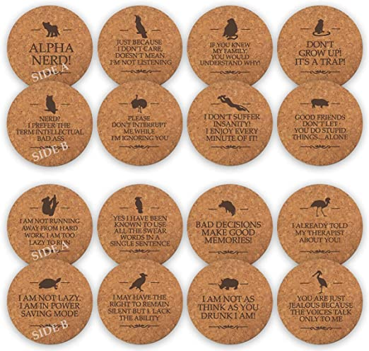 Can/'t Function Without Caffeine cork backed drinks mat og coaster