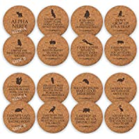 TANGRA Funny Party Cork Bar Coasters [8 Pack] Double Sided Laser Engraved with 16...