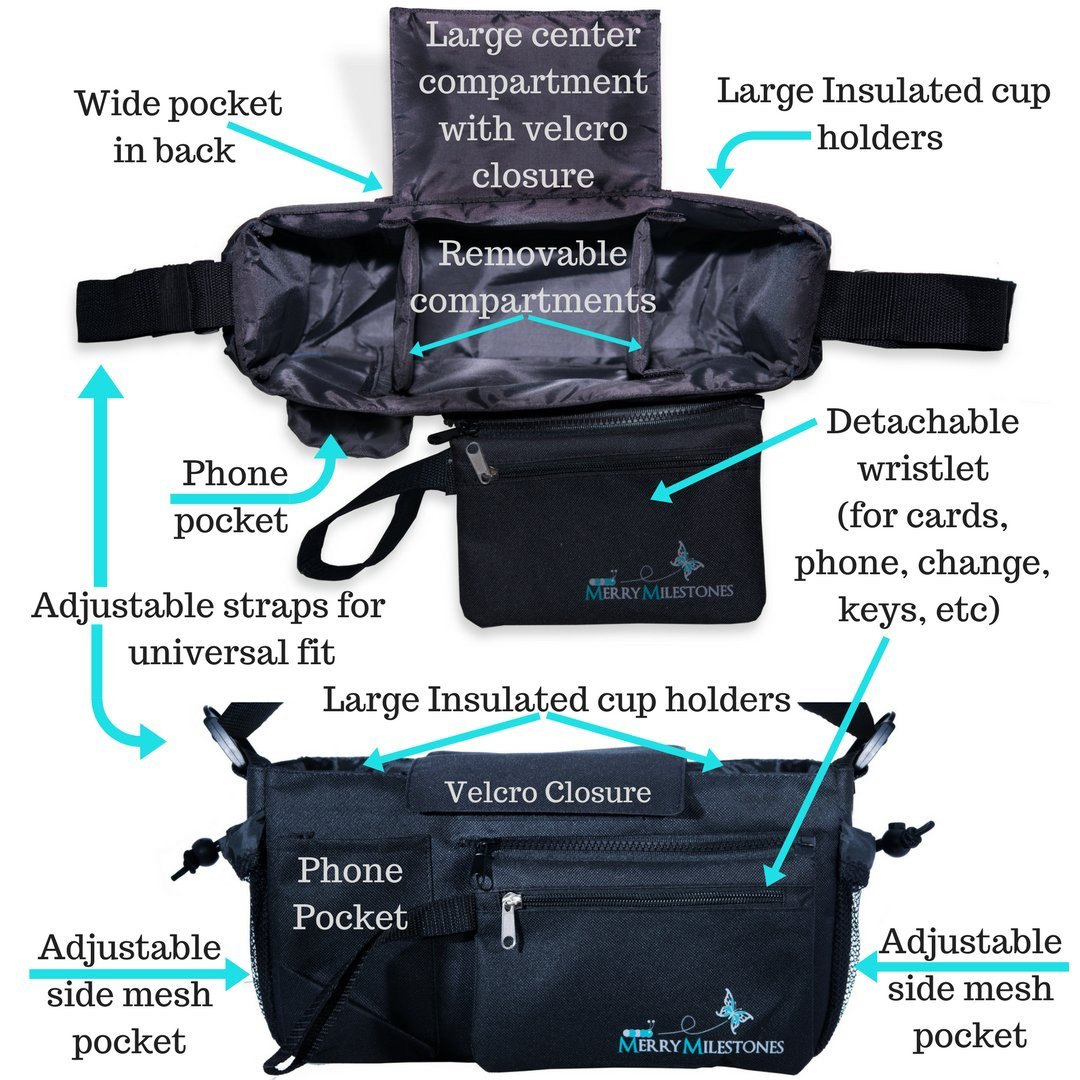 Stroller Organizer Bag with Detachable Wristlet and Extra-Large Insulated Cup Holders, Parent Storage for Smart Mom Accessories- Phone, Keys, Cards, Diapers, Perfect Baby Shower Gift by Merry Milestones (Image #6)