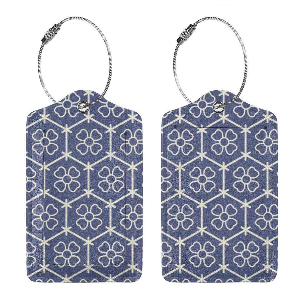 Japanese Patterns Beautiful Travel Luggage Tags With Full Privacy Cover Leather Case And Stainless Steel Loop