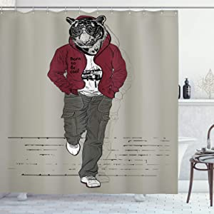 Ambesonne Modern Shower Curtain, Hipster Tiger in Sportswear Taking a Walk Adaptation to Urban City Theme, Cloth Fabric Bathroom Decor Set with Hooks, 70
