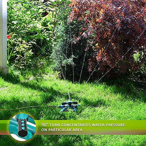 Water Sprinkler System - Lawn Garden Sprinkler Head - Outdoor Automatic Sprinklers for Lawn Irrigation System Kids - Three Arm High Impact Sprinkler System - Up to 3600 Square Feet by My garden (Image #4)