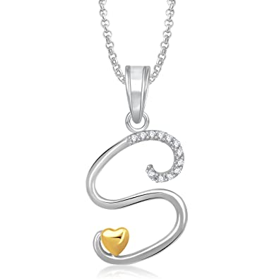 Buy meenaz jewellery gold silver s letter pendant for girls meenaz jewellery gold silver s letter pendant for girls women locket pendants with aloadofball Gallery