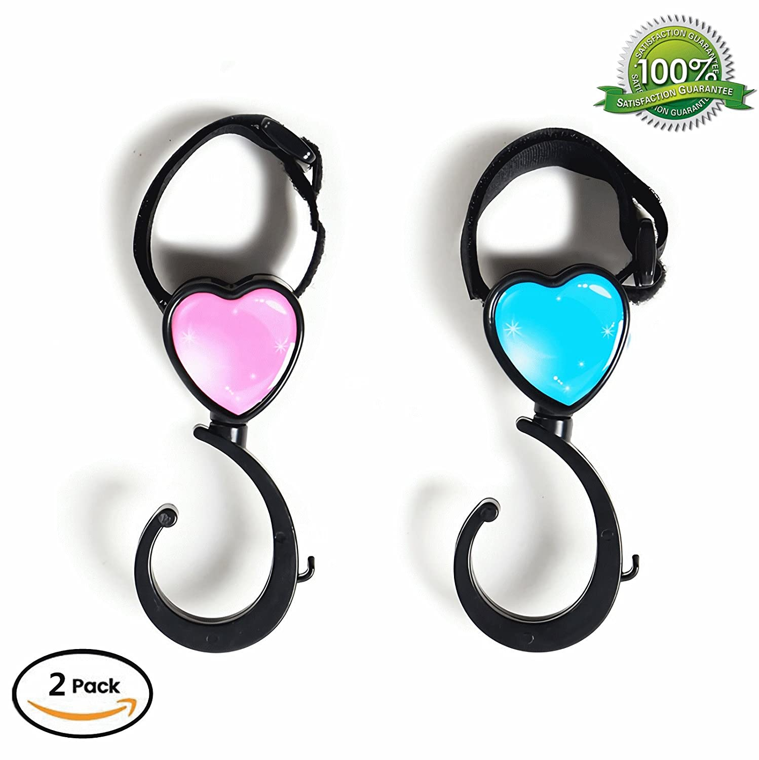 Stroller Hooks - Multi Purpose Stroller Clips - Handy Baby Stroller Accessories Hook Hanger for Hanging Bags, Diaper Bags, Groceries, Purse and more HDWISS