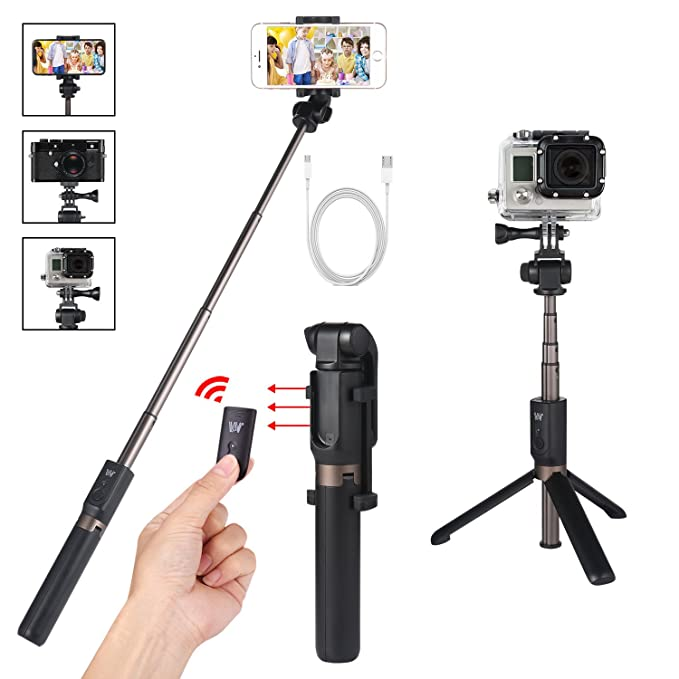 cc90587eee9249 Verygoo Selfie Stick Tripod for GoPro with Bluetooth Remote Compatible  with,Android,DLSR Cameras