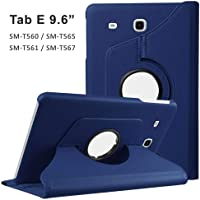 Infomatica Store 360 Degree Rotating Leather Case Cover Stand for Samsung Galaxy Tab 9.6 inch Flip Case Cover (Tab E Blue)