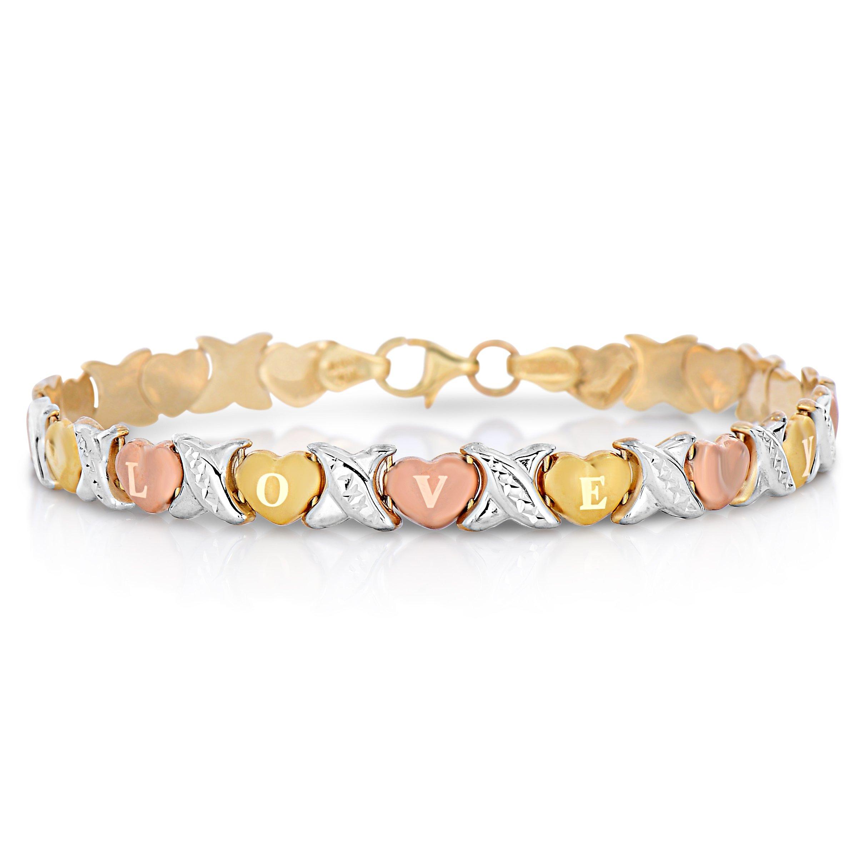 7'' 10k Tri Color Gold Stampato Xoxo X & Heart ''I Love You'' Chain Bracelet