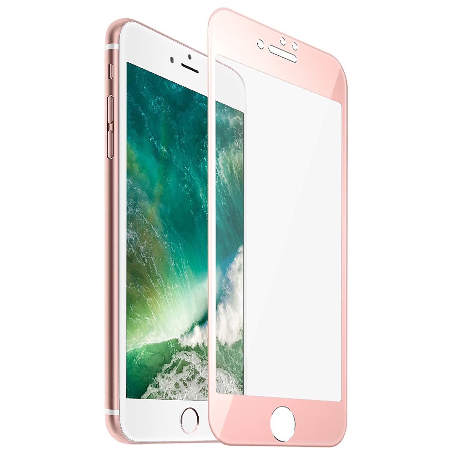 Amazon F Color Apple IPhone 8 Plus 7 Screen Protector Tempered Glass With Rose Gold Alloy Metal Frame Full Cover HD