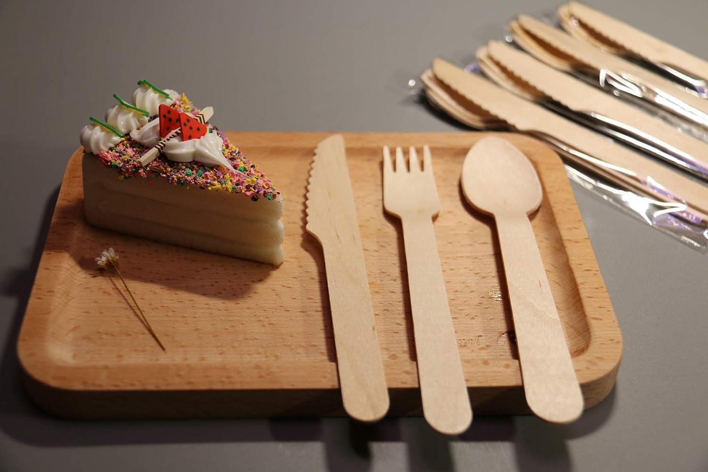 Fiesta cubiertos 24 piezas de madera para cumpleaños infantil o barbacoa