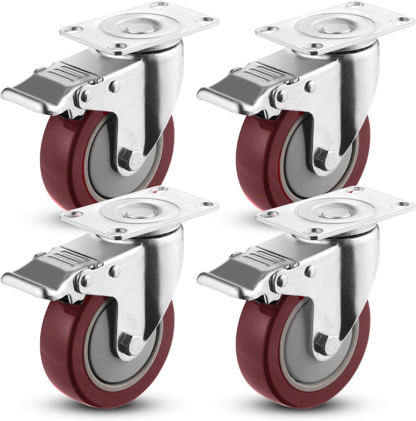 Meditool 4Pcs 100mm Ruedas Pivotantes Ruedas Giratorias para Muebles con Freno (Capacidad de carga máxima 400 KG)