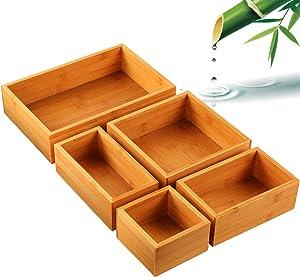 5-Piece Bamboo Drawer Organizer Set, Multi-use Storage Box Set, Varied Sizes Junk Drawer Organizer for Office, Home, Kitchen, Bedroom, Bathroom by Pipishell