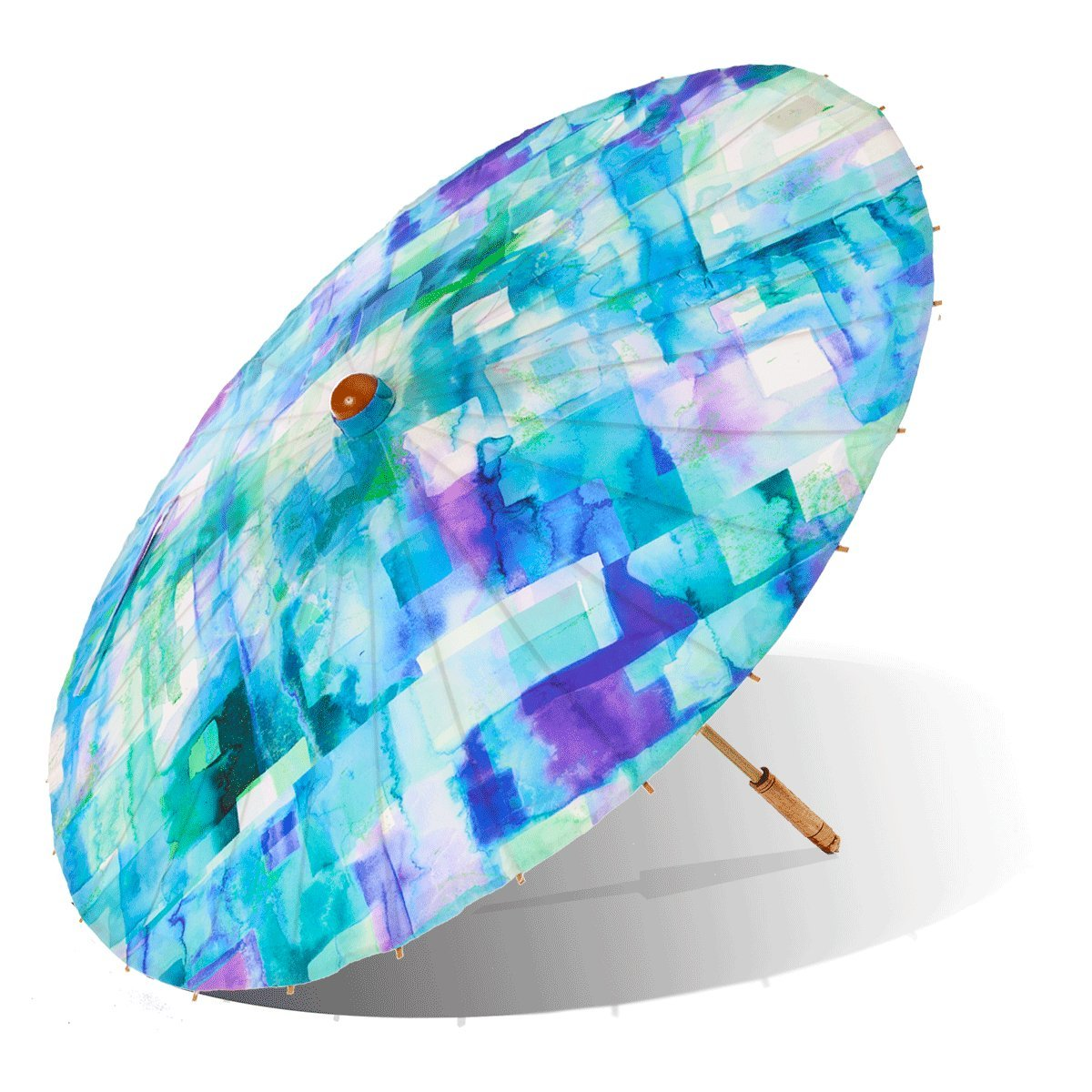 Lily-Lark Blue Squares UV protection sun parasol, rated UPF 50+ by Lily-Lark