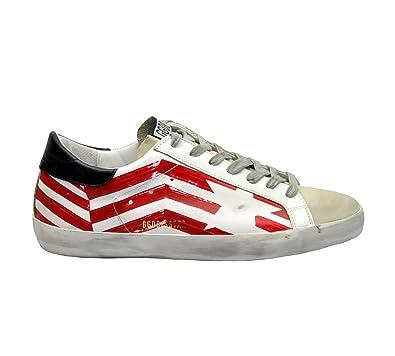 GOLDEN GOOSE G34MS590N37 Hombre Blanco/Rojo Cuero Zapatillas: Amazon.es: Zapatos y complementos
