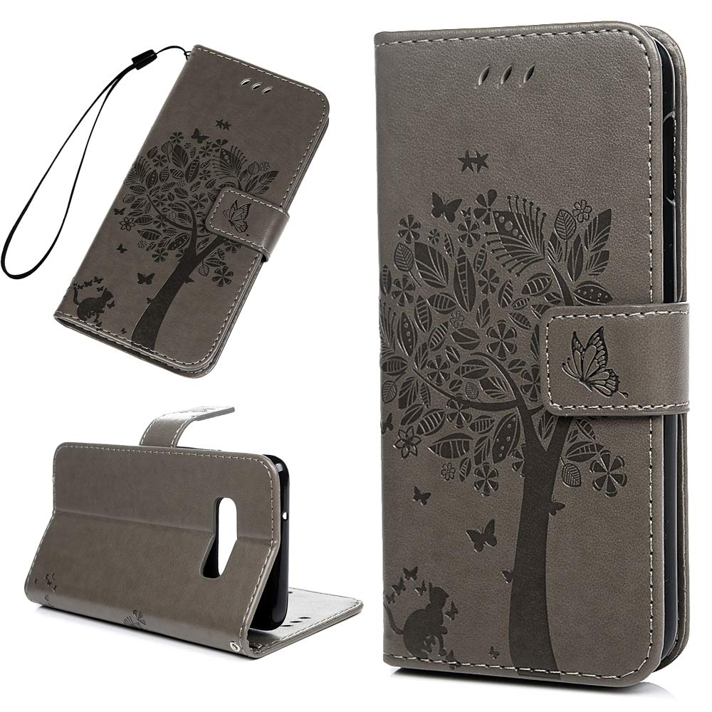 Amazon.com: Galaxy S10E Case Floral Tree Cute Cat Wallet ...