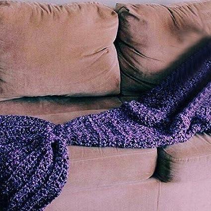 Hecho a mano de punto de lana de cola de sirena manta sofá cama Cocoon –