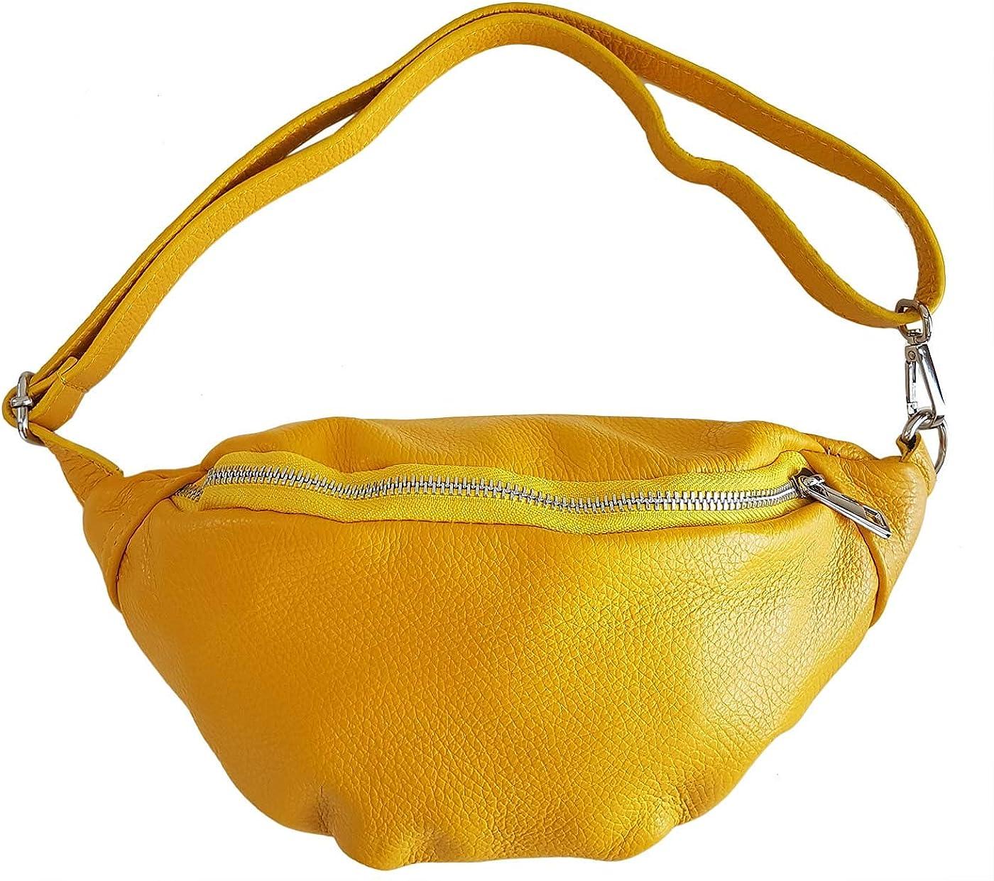 Made in Italy ATELIERS FLORENTINS Sac banane port/é ceinture en cuir pour femme