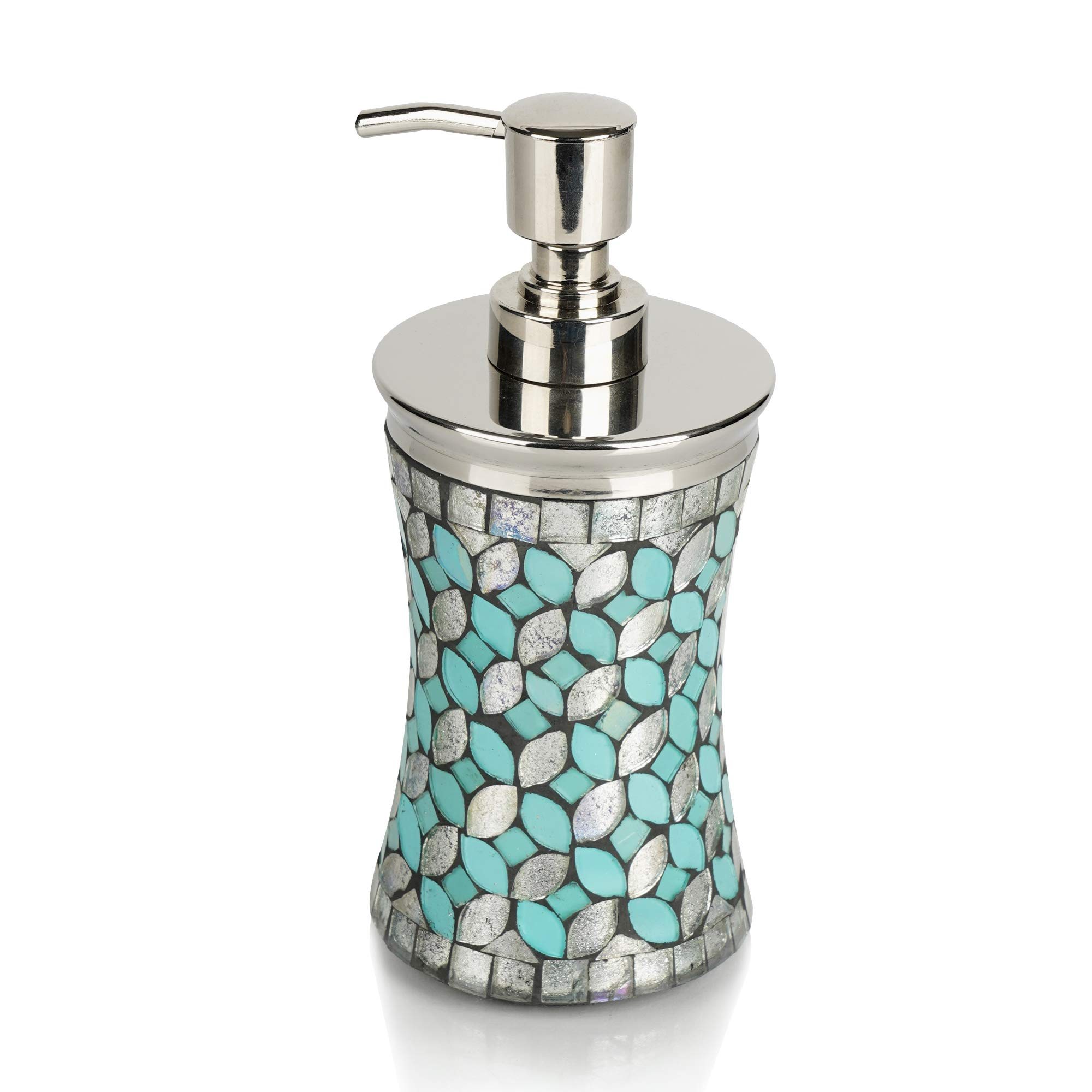 nu steel SF6H Sea Foam Collection Lotion Pump, Dispenser with Refillable Bottle, Ideal for Liquid Soaps, Glass Mosaic with Aqua Finish